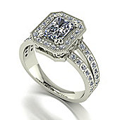 9ct White Gold 7x5 Radiant Moissanite Centre Ring