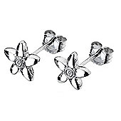 Children's Fleur Silver Diamond Flower Stud Earrings