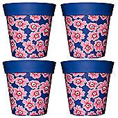 4 x 22cm Blue & Pink Floral Plastic Garden Planter 5L Flowerpot by Hum