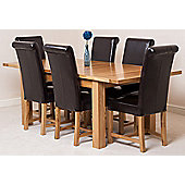 Seattle Solid Oak Extending 150 - 210 cm Dining Table with 6 Brown Washington Leather Chairs