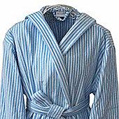 Homescapes Cotton Men's Light Blue Stripe Velour Hooded Bathrobe - XXL Size