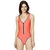 F&F Active Contrast Piped Chunky Zip Swimsuit - Bright coral