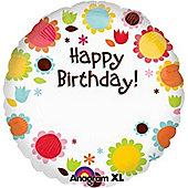 18' Happy Birthday Flowers Personalised Foil (each)