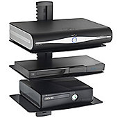 VonHaus 3x Black Floating Shelf with Tempered Glass for DVD/Blu-Ray Players/Sky Boxes/Game Consoles/TV Accessories
