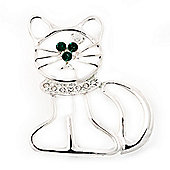 Funky Diamante Open Cat Brooch (Silver Tone Metal)