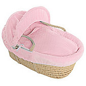 Pink Bubble Maize Moses Basket With Breathable Safety Foam Mattress