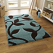 Oriental Carpets & Rugs Fashion Carving 7647 Blue/Brown Rug - 160cm x 220cm