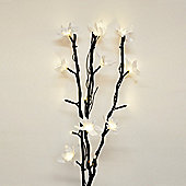 Battery Operated LED Twigs in Black with White Flowers