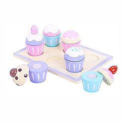 Bigjigs Toys BJ399 Wooden Play Food Candy Floss Muffin Tray