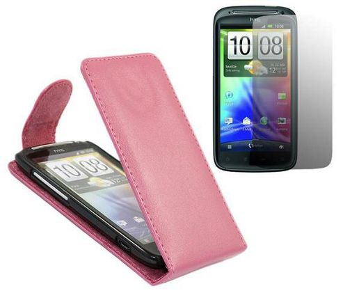 Pink FlipMatic Easy Clip On Vertical Pouch Case with Screen Protector - HTC Sensation
