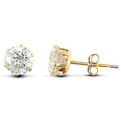 Jewelco London 9ct Yellow Gold studs claw-set with 5mm Solitaire CZ stone