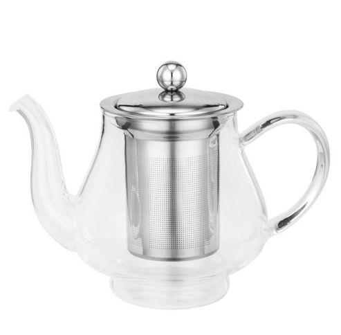 buy vonshef 750ml glass stainless steel infusion tea pot. Black Bedroom Furniture Sets. Home Design Ideas