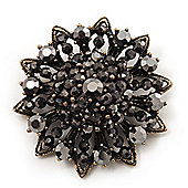 Black Crystal Dimensional Floral Corsage Brooch (Antique Gold Tone)