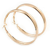 Large Polished Gold Plated Hoop Earrings - 70mm Diameter