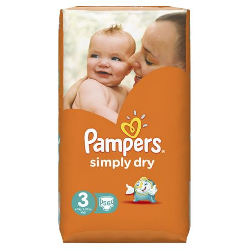 Pampers Simply Dry Size 3 Large Pack - 56 nappies