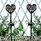 Pack of 2 Solar Powered Mini Heart Garden Spike Lights in Bronze Metal