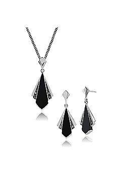 Gemondo Sterling Silver Art Deco Black Onyx & Marcasite Drop Earring & 45cm Necklace Set