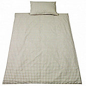 Saplings Cot Bed Quilt & Pillowcase Set - Beige Gingham