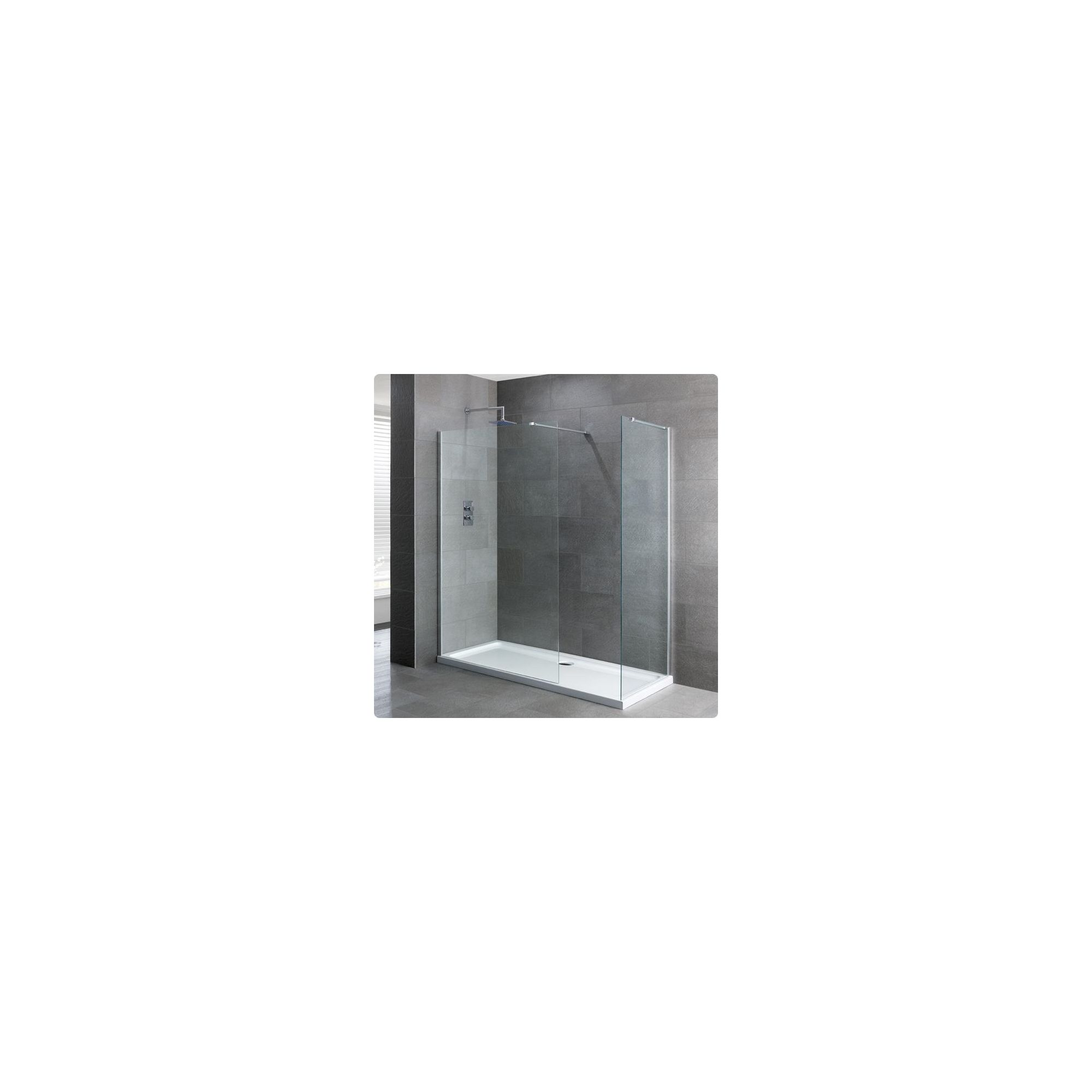 Duchy Select Silver Walk-In Shower Enclosure 1700mm x 760mm, Standard Tray, 6mm Glass at Tesco Direct