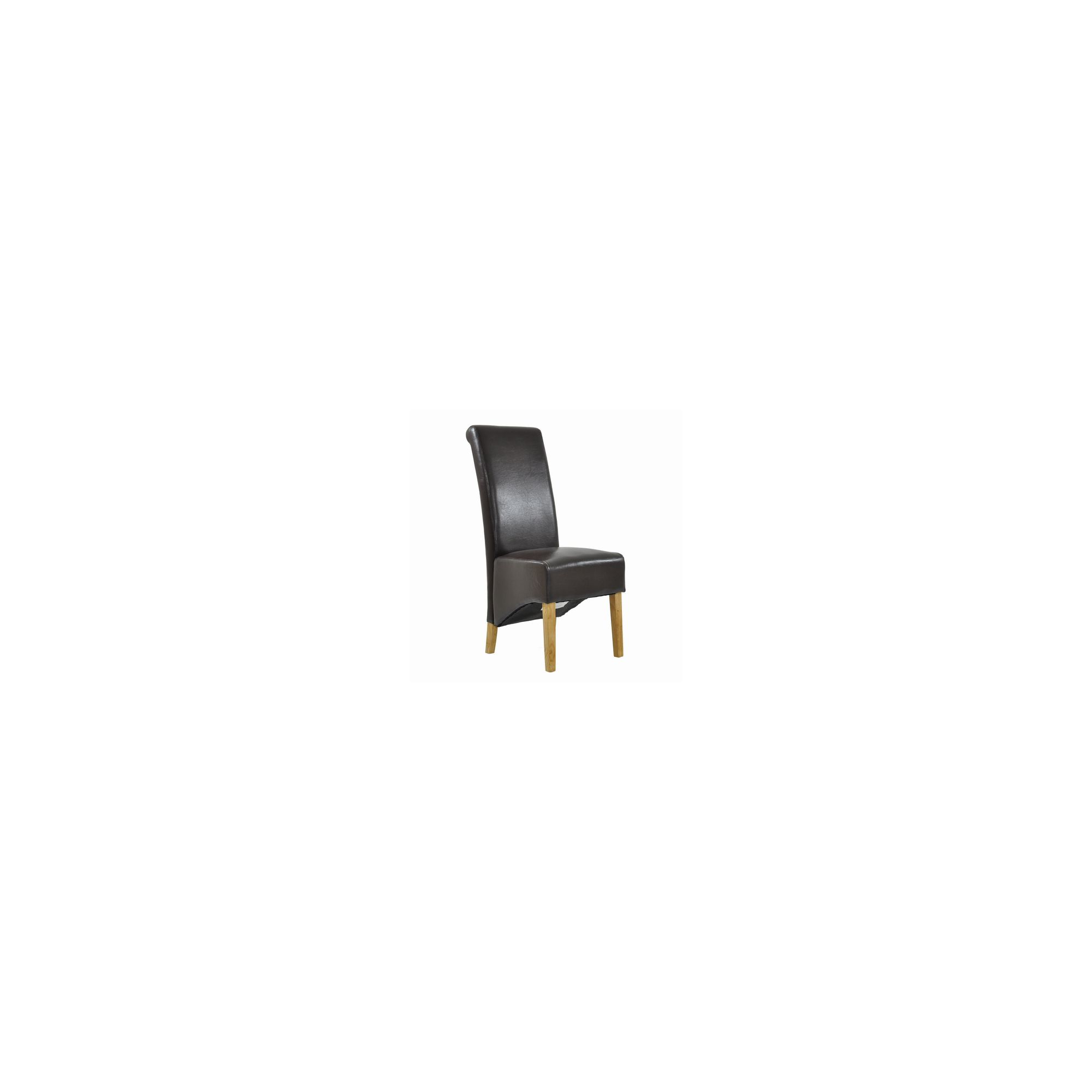 Knightsbridge Brown Bicast Leather Scroll Top Dining Chair