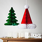 Christmas Tree & Santa's Hat Paper Honeycomb Decorations