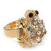 Clear Swarovski Crystal 'Frog' Gold Plated Ring - (Expandable. Size 7/8)