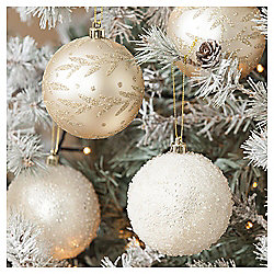 Floral and Bead Christmas Baubles, Gold, 4 pack