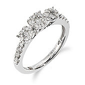 Gemondo 18ct White Gold 0.50ct Diamond Trilogy Style Ring
