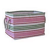 Wicker Valley Small Rectangular Soft Storage in Pink Stripe