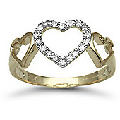 Jewelco London 9 Carat Yellow Gold 13pts Diamond Heart Ring
