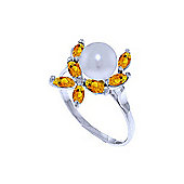 QP Jewellers Citrine & Pearl Ivy Ring in 14K White Gold