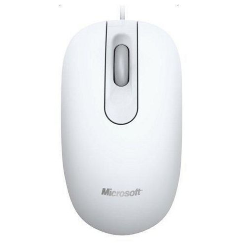 Microsoft 200 Mouse - Optical - Wired - 3 Button(s) - White - USB - 1000 dpi - Scroll Wheel - Symmetrical