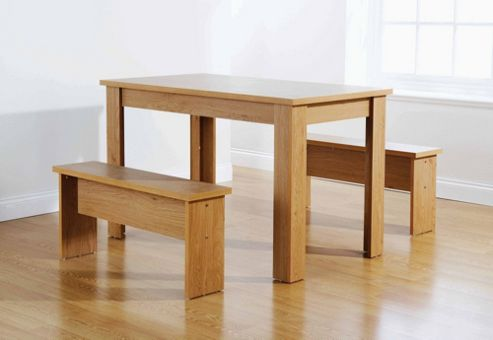 Elements Utah Table and Bench Set - Oak