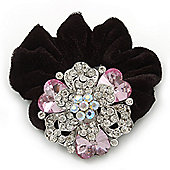Large Layered Rhodium Plated Swarovski Crystal Rose Flower Pony Tail Black Hair Scrunchie - Light Pink/ Clear/ AB