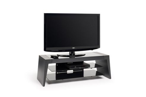 """Unique tapered profile places Form for screens up to 50"""" max weight 50kg - Two tone black carcass with black glass floating shelves"""