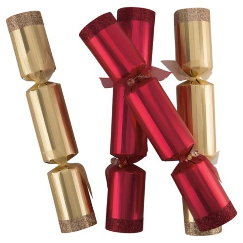 Tesco Luxury Gold & Red Christmas Crackers, 6 Pack