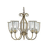 Traditionally Designed Brass Pendant Light with Seeded Clear Glass