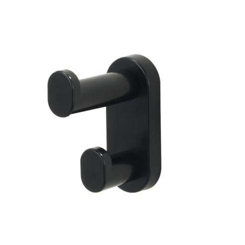 Safco Plastic Hook Wall Mount Double in Black (Set of 6)