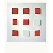 Dix Heure Dix Metalo 9 Light Flush Light - White Background/ 7 Red + 2 White Lights