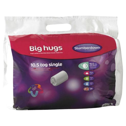 Slumberdown Big Hugs 10.5 Tog Duvet Single, White
