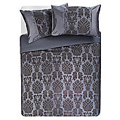 F&F Home Vienna Flock King Size Duvet Set, Charcoal