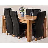 Kuba Chunky Solid Oak 180 cm Dining Table with 6 Black Lola Leather Chairs
