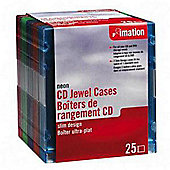 Imation Empty Slimline CD Storage Cases - Jewel Case 25 Pack (Neon)