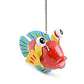 Bouncy Multi Coloured Fish Ornament For Garden Or Home in Red