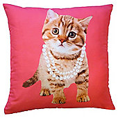 Novelty Kitten In Pearls Cushion