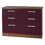 Welcome Furniture Knightsbridge 6 Drawer Chest - Black - Aubergine