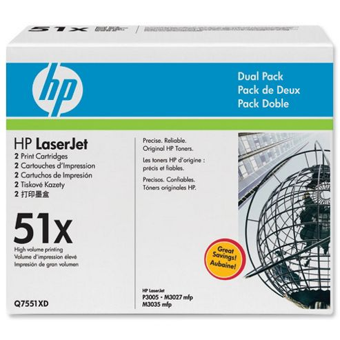 Bundle: HP 51X Black Smart Print Cartridge (Yield 13,000 Pages) Dual Pack for LaserJet P3005, M3035mfp, M3027mfp