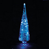 10in Blue Glass Cone Tree with 10 Ice White LEDs