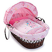 Clair de Lune Lottie & Squeek Wicker Moses Basket (Dark)