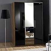 Amos Mann furniture Milano 3 Door 2 Drawer Wardrobe - Black and Walnut